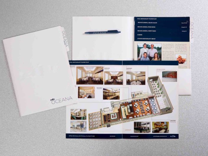 Restaurant Private Dining Pocket Folder with Stepped Tab Brochure & 3D Rendering